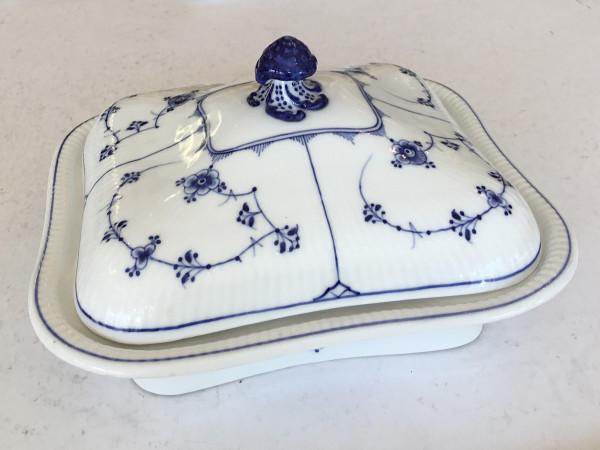 Musselmalet / Blue Fluted: Eckige Schüssel mit Deckel