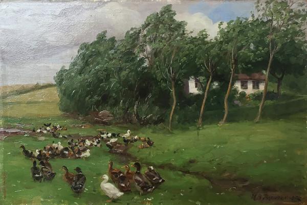 Hans Andersen Brendekilde (1857-1942): Szene mit Enten vor einem Bauernhaus bei starkem Wind