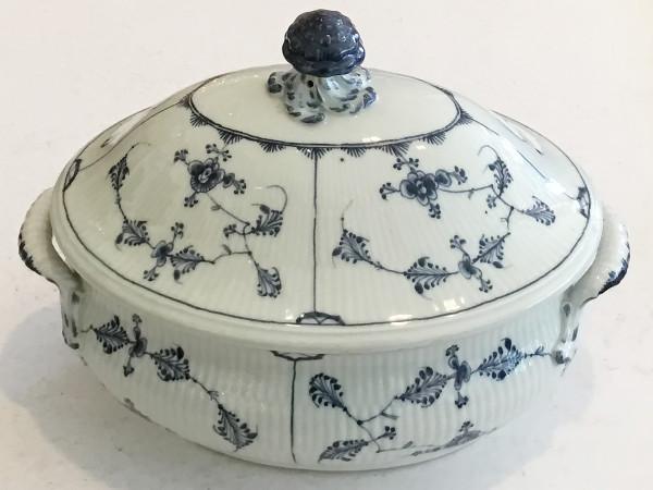 Musselmalet / Blue Fluted: Ovale Suppenterrine, groß - Antikes Einzelstück