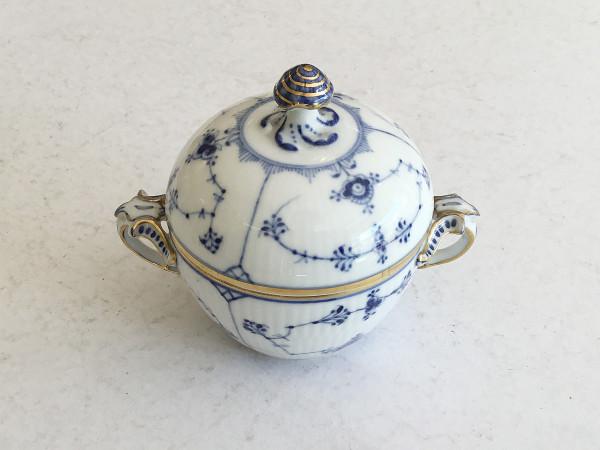 Musselmalet / Blue Fluted: Zuckerdose, groß mit Goldrand