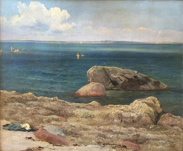 Carl Frederik Aagaard (1833-1895): Küstenlandschaft mit badenden Kindern