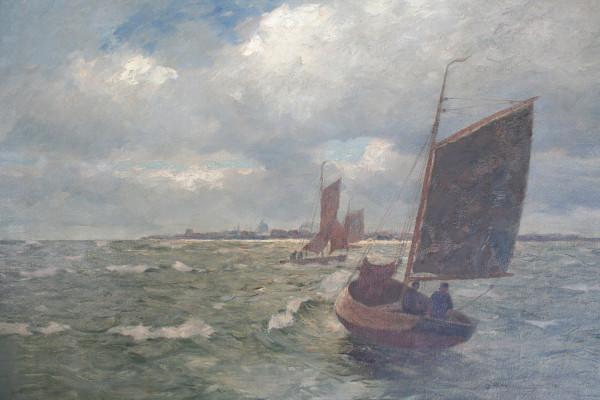 Andreas Dirks (1865-1922): Fischerboote vor einer Küste