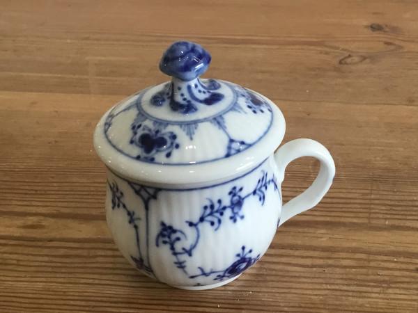 Musselmalet / Blue Fluted: Café Crème Tasse mit Deckel