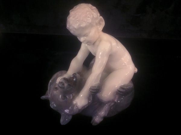 """Royal Copenhagen Figur """"Faun mit Bär"""""""