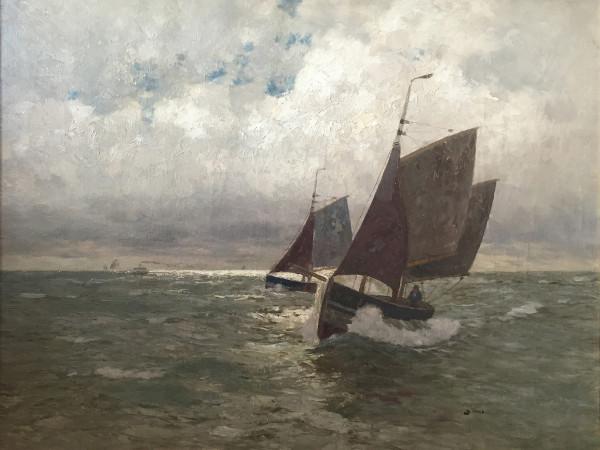 Andreas Dirks (1865-1922): Fischerboote auf der Nordsee