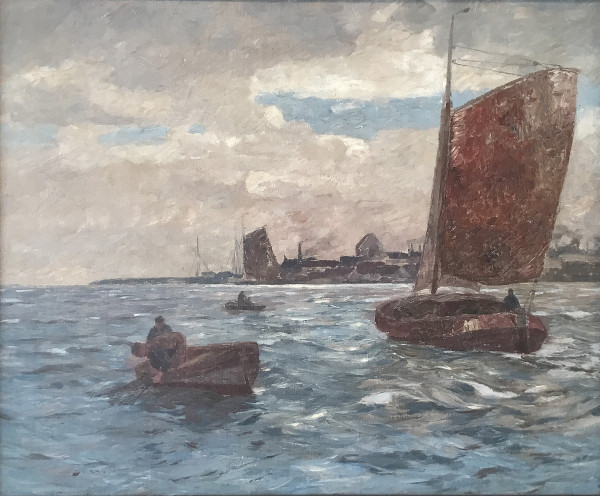 Andreas Dirks (1865-1922): Fischerboote vor einem Hafen